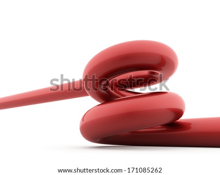 Red spiral spring rendered on white background