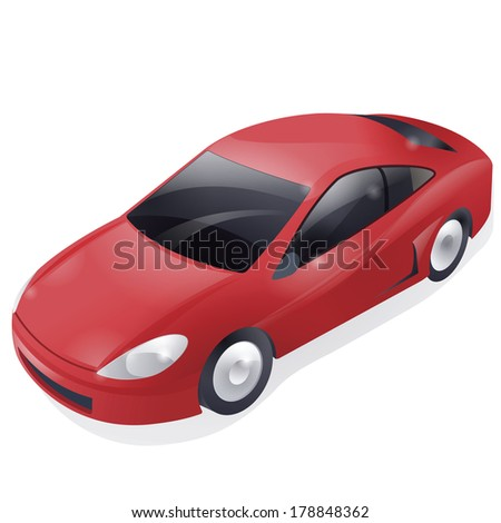 Red sport car isolated on white background - stock photo