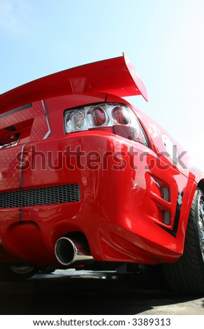Red Sport Car, View From Below, And From Back