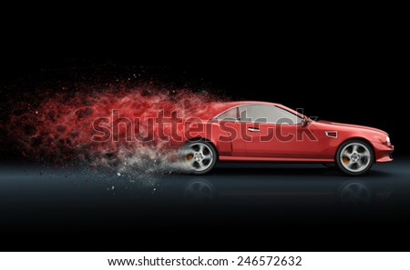 Red sport coupe with trail of dust - stock photo