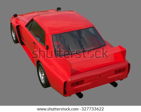 Red sports coupe. Red race car. Retro race. Japanese School tuning. Uniform gray background. Three-dimensional model. Raster illustration - stock photo