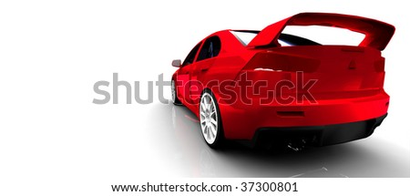 Red Sports Rally Car - Rear view Isolated on white - stock photo