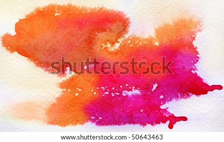 Red spot, watercolor abstract hand painted background - stock photo