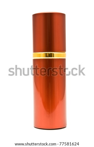 Red spray can isolated on white