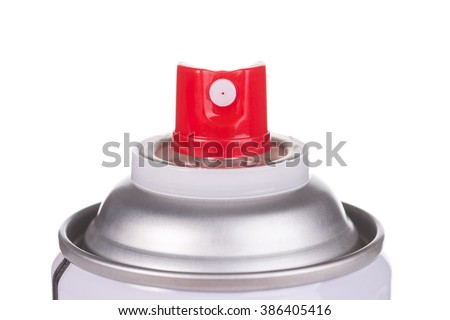 Red spray head of white spray can isolated on white background. - stock photo