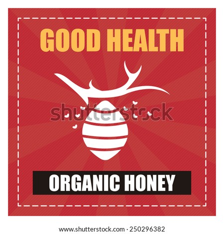 Red Square Good Health Organic Honey Poster, Banner, Label or Sticker Isolated on White Background  - stock photo