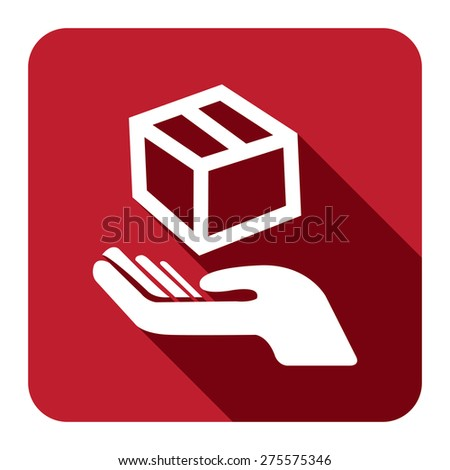 Red Square Hand With Box, Handle With Care, Do Not Drop Flat Long Shadow Style Icon, Label, Sticker, Sign or Banner Isolated on White Background - stock photo