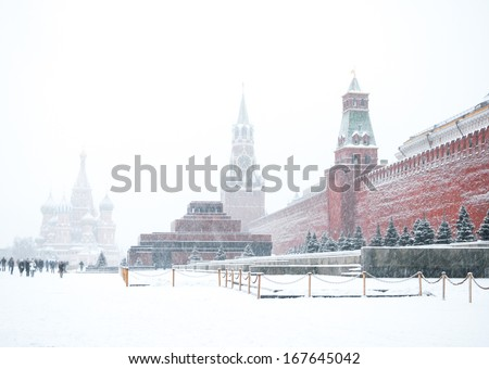 Red square in snow. Moscow, Russia