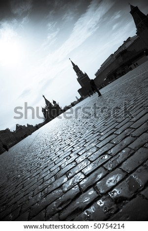 Red Square /  Moscow Kremlin  / dramatic silhouettes - stock photo