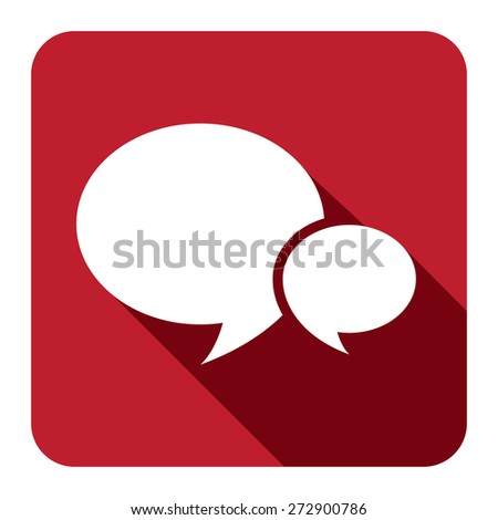 Red Square Speech Bubble Long Shadow Style Icon, Label, Sticker, Sign or Banner Isolated on White Background - stock photo