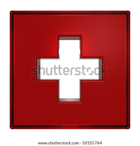 Red square with cross isolated on white - stock photo