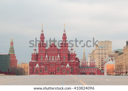 Red Square without people. Moscow, Russia - stock photo