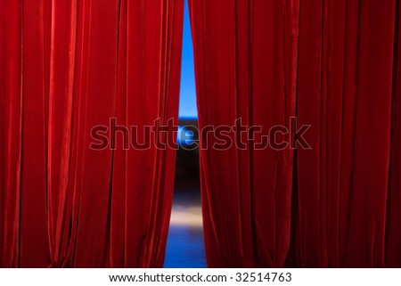 Red Stage Curtain - stock photo