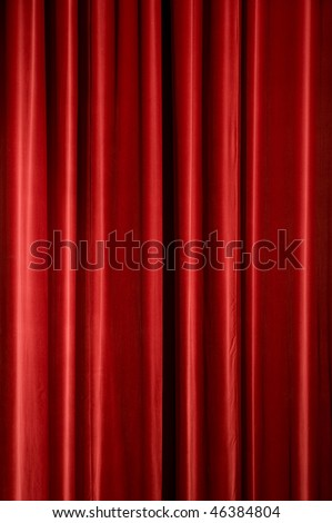 Red stage curtain, background texture with copyspace - stock photo
