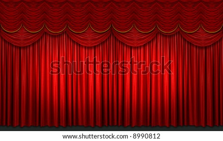 Red stage curtain with yellow accents with light and shadow - stock photo