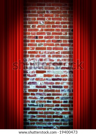 Red stage curtains in front of wall - stock photo
