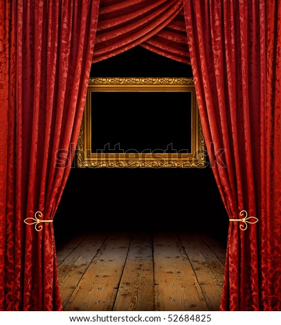 Red stage curtains reveal golden frame and old wooden floor - stock photo