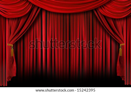Red Stage Theater Drapes With Deep Shadows