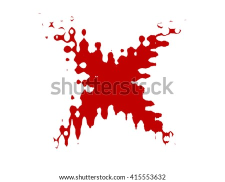 Red stain in shape of X  illustration on white background - stock photo
