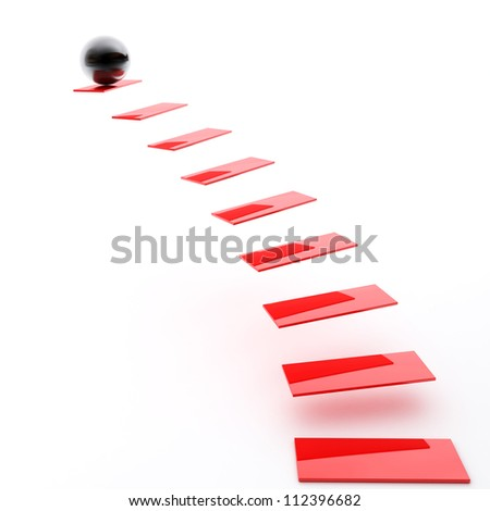 Red Staircase with Black Sphere - stock photo