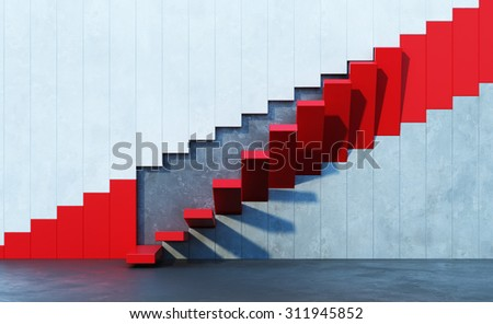 red stairs leading upward, architectural composition - stock photo