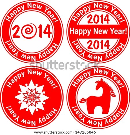 Red stamp with the text 2014 Happy New Year written on the stamp isolated on White background.  illustration