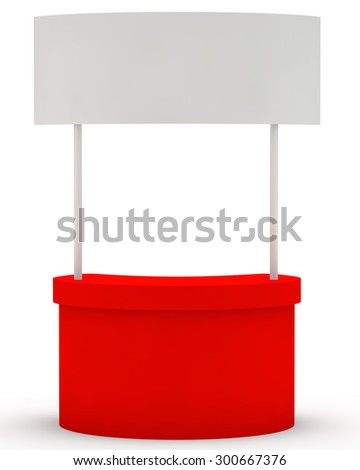red stand for display of advertizing production