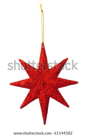 Red Star decoration for hanging on christmas tree - stock photo