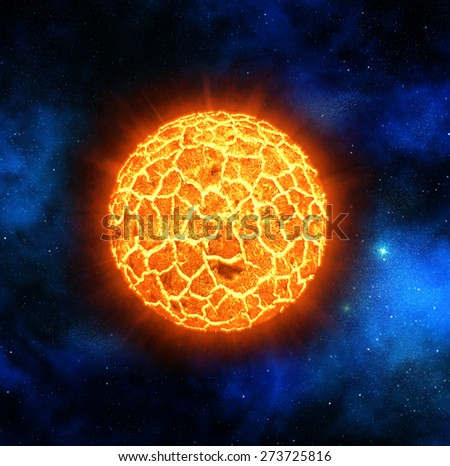 red star exploding on deep space background - stock photo