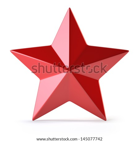 Red star isolated on white - stock photo