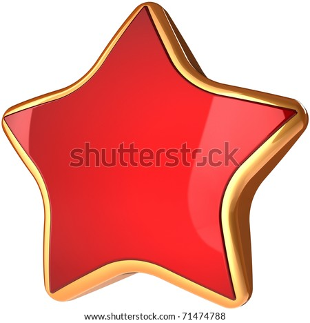 Red star shape with shiny golden border. Best choice winner symbol. This is a detailed three-dimensional render 3d cgi (Hi-Res). Isolated on white background - stock photo