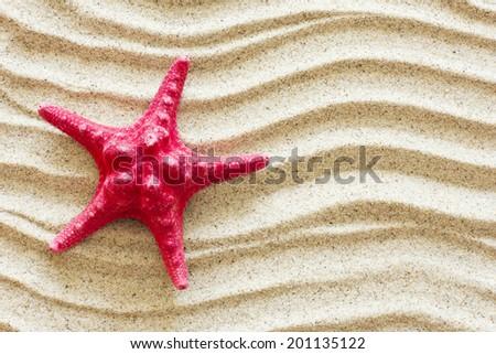 Red Starfish On Sand./ Red Starfish On Sand. - stock photo