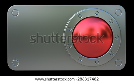 Red START button isolated on black background. High resolution 3d