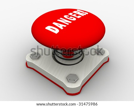 Red start button on a metal platform - stock photo