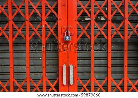 Red steel door can be used for interior design - stock photo