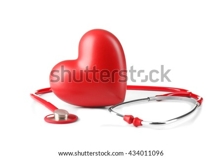 Red stethoscope and heart isolated on white