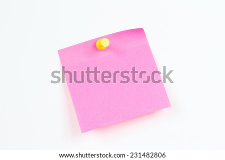 Red sticker on a white board from notice - stock photo