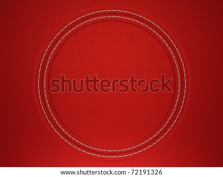Red stitched circle shape on leather background. Large resolution - stock photo