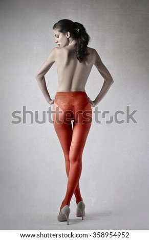 Red stockings on a model body