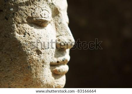 Red stone Buddha, Thailand - stock photo