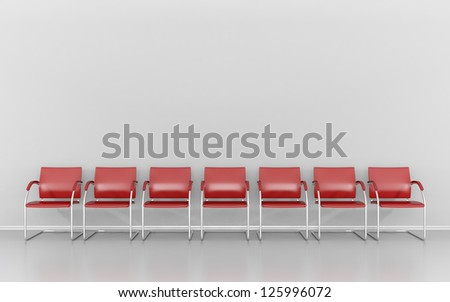 Red stools in the waiting room - stock photo