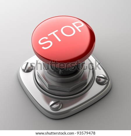 Red STOP button High resolution. 3D image
