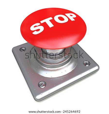 Red STOP button Isolated High resolution. 3D image  - stock photo