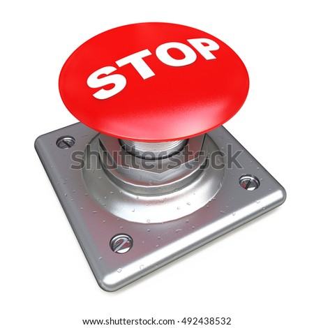 Red STOP button Isolated High resolution. 3D image in the design of the information related to the risk. 3d illustration