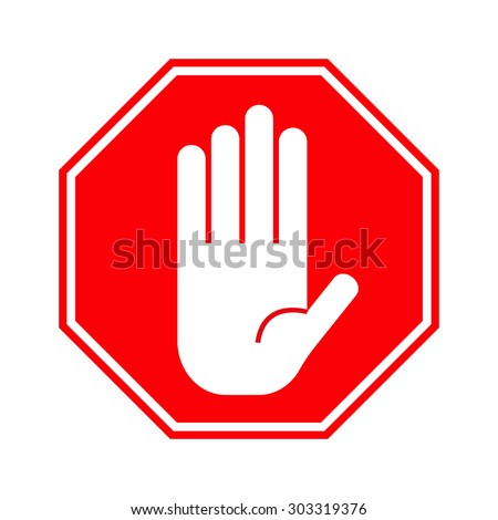 Red stop hand sign - stock photo