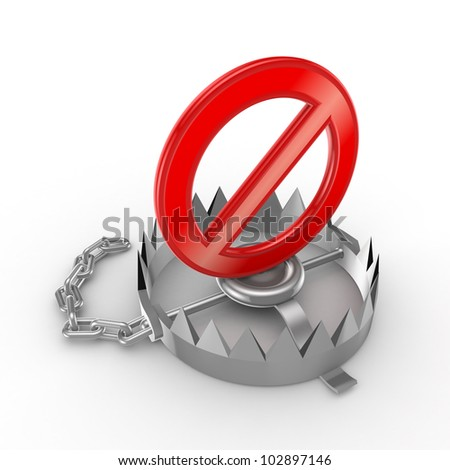 Red stop symbol on iron trap.Isolated on white background.3d rendered. - stock photo