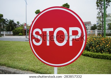 Red stop traffic sign - stock photo