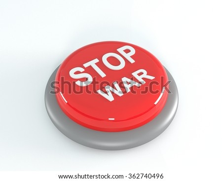 Red STOP WAR button, 3d illustration - stock photo