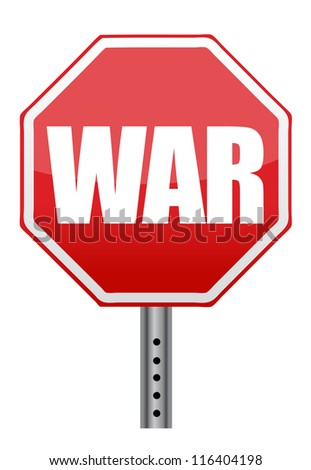 red stop war sign illustration design over white