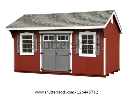 Red Storage barn isolated on white - stock photo